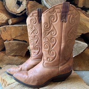 Vintage Zodiac Brown Leather Western Cowboy Boots